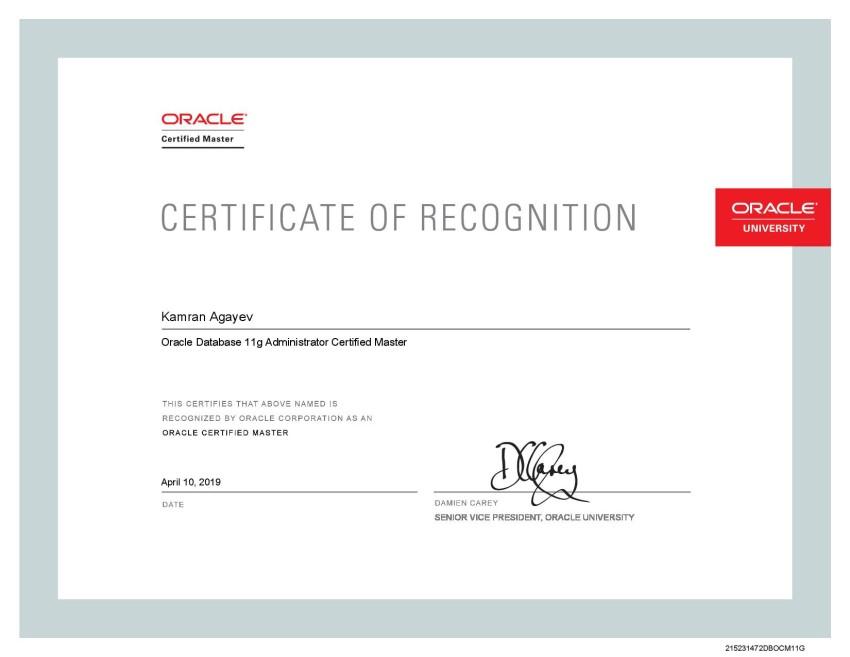OCM 11g Certificate